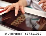 scientist  examines an x ray of ... | Shutterstock . vector #617511092