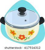 cooking pot with glass lid and... | Shutterstock .eps vector #617516312