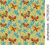 seamless pattern with... | Shutterstock .eps vector #617518142