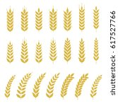 set of wheat or barley icon ... | Shutterstock .eps vector #617527766