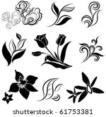 set of black flower design... | Shutterstock .eps vector #61753381