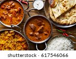 assorted indian curry and rice... | Shutterstock . vector #617546066