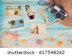 top view composition   summer... | Shutterstock . vector #617548262