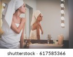young attractive woman standing ... | Shutterstock . vector #617585366
