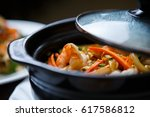 exotic asian restaurant food... | Shutterstock . vector #617586812