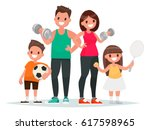 sport family. dad  mother  son... | Shutterstock .eps vector #617598965