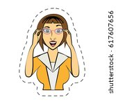 cartoon woman expression image | Shutterstock .eps vector #617607656