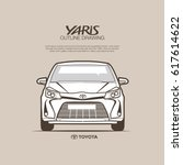 Toyota Yaris front view vector outline