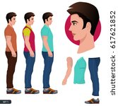character side pose vector... | Shutterstock .eps vector #617621852