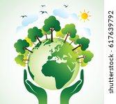 hands holding the green earth... | Shutterstock .eps vector #617639792