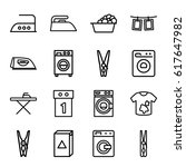 laundry icons set. set of 16... | Shutterstock .eps vector #617647982