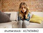 stomach ache  women problems. | Shutterstock . vector #617656862