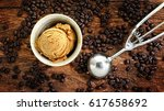coffee ice cream decorated with ... | Shutterstock . vector #617658692