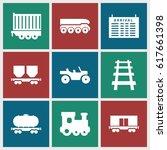 train icons set. set of 9 train ... | Shutterstock .eps vector #617661398