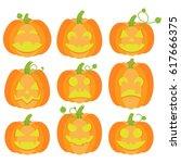 jack o lanterns collection   Shutterstock .eps vector #617666375