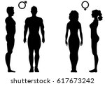 silhouettes of man and woman in ... | Shutterstock .eps vector #617673242