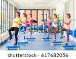 group of beautiful young women... | Shutterstock . vector #617682056