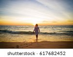 motion blurred silhouette young ... | Shutterstock . vector #617682452
