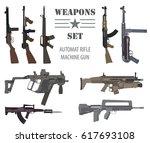 firearm set. automatic rifle ... | Shutterstock .eps vector #617693108