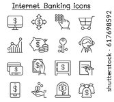 internet banking icon set in... | Shutterstock .eps vector #617698592