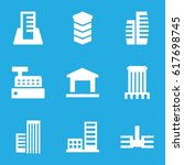 buildings icons set. set of 9... | Shutterstock .eps vector #617698745