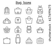 bag icon set in thin line style | Shutterstock .eps vector #617699675