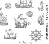 seamless pattern with trireme ... | Shutterstock .eps vector #617728076