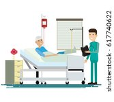 medical staff with patients.... | Shutterstock .eps vector #617740622