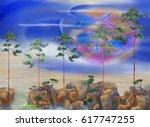 five pine trees and night... | Shutterstock . vector #617747255