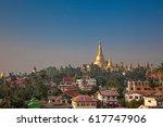yangon  myanmar view of... | Shutterstock . vector #617747906