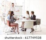business trainer giving... | Shutterstock . vector #617749538