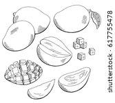 mango fruit graphic black white ... | Shutterstock .eps vector #617755478
