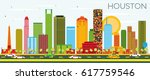 houston skyline with color... | Shutterstock .eps vector #617759546