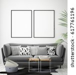 mock up poster frames in... | Shutterstock . vector #617761196