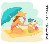 mom rubs sunscreen the back of...   Shutterstock .eps vector #617761832
