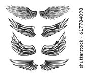 vintage wings set isolated on... | Shutterstock .eps vector #617784098