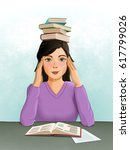 young female student with a... | Shutterstock . vector #617799026