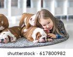 the friendship between a little ... | Shutterstock . vector #617800982
