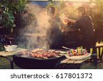 dinner party  barbecue and... | Shutterstock . vector #617801372