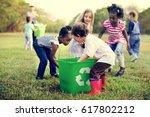 group of kids school volunteer...   Shutterstock . vector #617802212