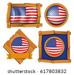 american flag on different... | Shutterstock .eps vector #617803832
