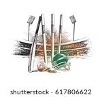 cricket championship with ball... | Shutterstock .eps vector #617806622
