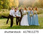 awkward friend of the groom... | Shutterstock . vector #617811275