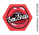 color vintage sex shop emblem.  | Shutterstock . vector #617814638
