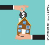hand give a coin to house... | Shutterstock .eps vector #617815982
