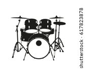Black Silhouette Of Drum In...