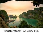 ha long bay scenic view during... | Shutterstock . vector #617829116