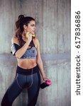 woman in sport wear and... | Shutterstock . vector #617836886