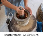 granite mortar and pestle with... | Shutterstock . vector #617840375