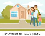 family standing outside new... | Shutterstock .eps vector #617845652